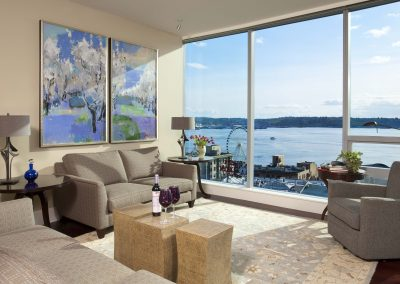Dramatic Seattle Waterfront Living Room